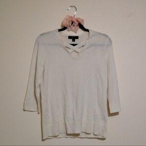 Cream Criss Cross Front V-Neck Sweater